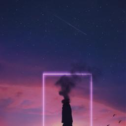 silhouette alone darkness galaxy imagination freetoedit