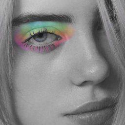 billieeilish rainbow myself eyeshadown blackanwhite freetoedit