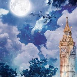 freetoedit painting bigben clock moon
