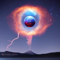 surreal nightsky planet nebula volcano freetoedit