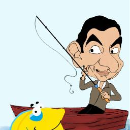 dcfishingweek fishingweek dibujo mrbean pesca freetoedit