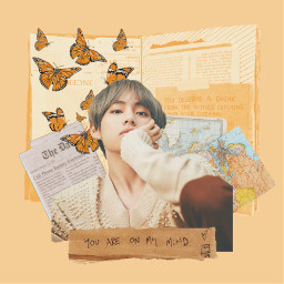 v bts kpop taehyung aesthetic yellow grunge orange freetoedit
