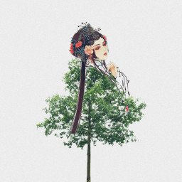 freetoedit chinesegirl tree onewithnature standtall