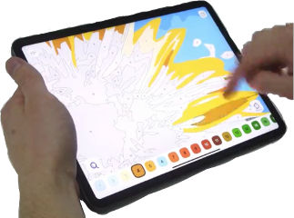 ipad tablet hands picture coloring freetoedit