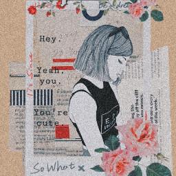 freetoedit cute girl shygirl newspaper scrapbook