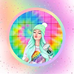 freetoedit rainbow tiedye girls