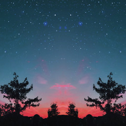 freetoedit sunset stars trees clouds pinkclouds sky nightsky pink blue night mirroreffect madewithpicsart picsart