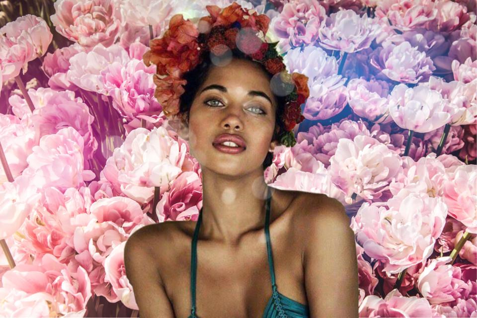 #freetoedit #flowers #flowcrown #flowebackground #secondpic #woman #beauty #queen #interesting