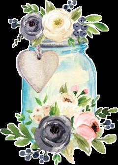 watercolor masonjar jar label flowers freetoedit