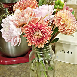 freetoedit masonjar flowers bouquet pinks