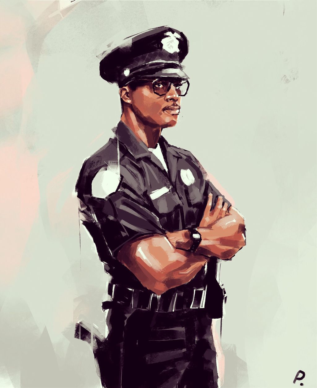 Kevin Hall L.A.P.D. 1980s #punksy #artist #painter #illustrator #drawing #lapd #police #80s