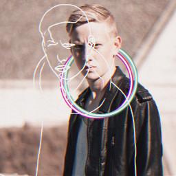 freetoedit glitch glitcheffect circle man