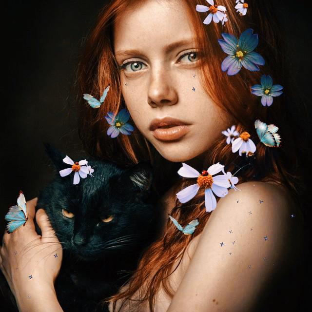 #freetoedit beauty is everywhere 🖤🐾 #flowers#kitty#meow