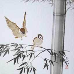 drawing art sparrow bamboo japan freetoedit