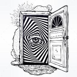 freetoedit blackandwhite sketched door trippy