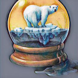 snowglobe polarbear iceberg freetoedit