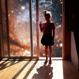 girl peace outerspace silhouette shadows freetoedit