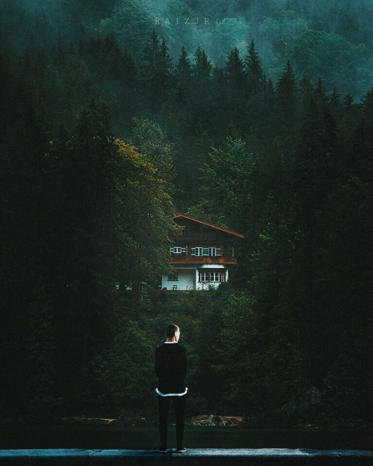 Home in the wood. 🏡 @picsart @freetoedit    #picsart #madewithpicsart #edit #editing #photography #photoediting #photoeditor #art #visual #visualart #visualartist #instagram #surreal #lake #wood #forest #home #man #standing #green
