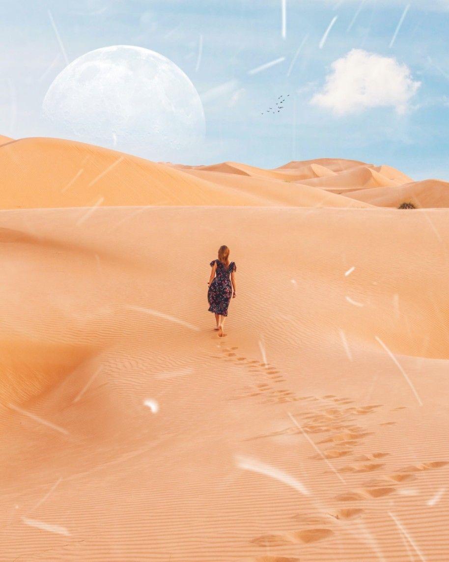 #freetoedit #woman #sand #desert #footprints #moon #sky #clouds #birds #picsart #madewithpicsart #sun #hills #surreal