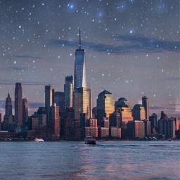 art skyscraper stars moon newyork