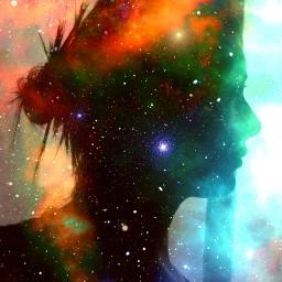 freetoedit outerspace wonan silhouette doubleexposure