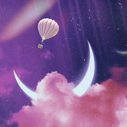 freetoedit 1991filter hotairballoon moon surreal