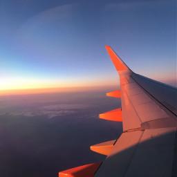 sunset airplane plane jet orange