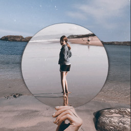 beach edit hand ocean