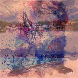 freetoedit remix horse bike colorful