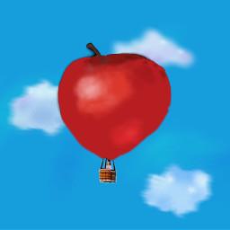 freetoedit apple friut sky clouds