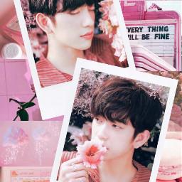 jinyoung junior got7 pink flower freetoedit