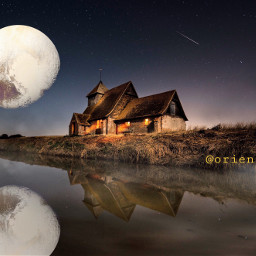 freetoedit reflexion nightsky lake pluto
