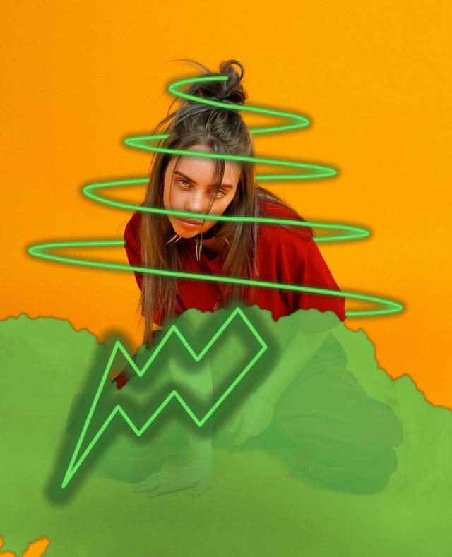 Billie Eilish💚#music#green#freetoedit