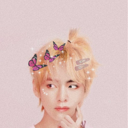 freetoedit taehyung bts butterfly pink