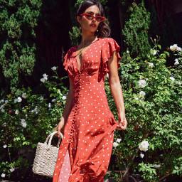 polkadots red dress model freetoedit