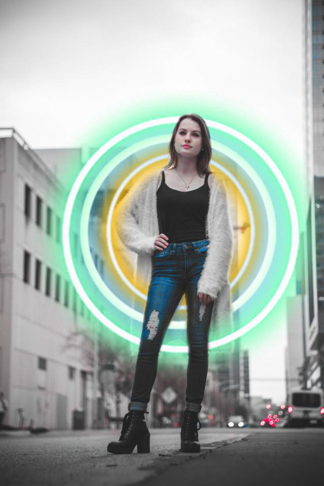 #freetoedit #green #blue #orange #circle #neon #girl