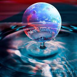 waterdrop planet transparent imagination floating freetoedit
