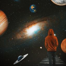picsart madewithpicsart edit editing art visual visualart surreal surrealart instagram photography nature fantasy universe galaxy planets man walking bridge spaceart
