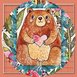 freetoedit srcframeremix frameremix loveheart bear