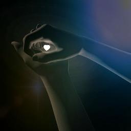 hands light space surreal exposure