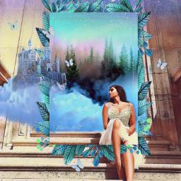freetoedit castle princess fairytale clouds srcframeremix