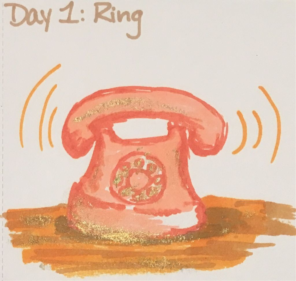 Day 1: Ring  Inktober is finally back, which hopefully means I'll be posting every day! They're gonna be small this year; between school and work I dont't have a lot of time.  #inktober #inktober2019 #telephone #art #myart #drawing #ring #unconventional #markers #paint