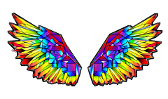 wings fly angel rainbow colorful freetoedit