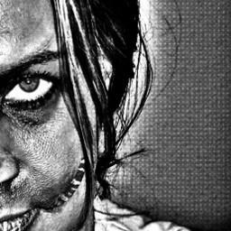 freetoedit blackandwhite zombie halloween myphoto