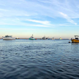 sea goldenhour boats ripples freetoedit