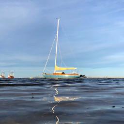 boats sea reflection ripples freetoedit