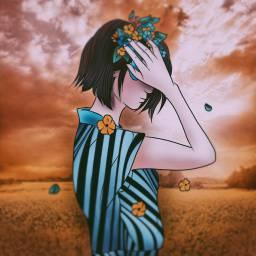 woman flowers field madewithpicsart stripes freetoedit