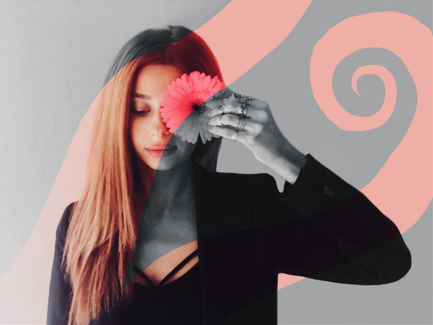 #freetoedit #pink #flower #girl #eye #face #black #white #remix #b&weffect  ××× @sofibonsi