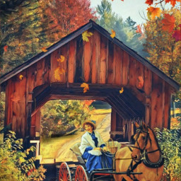 freetoedit srcautumncolors autumncolors coveredbridge photoremix