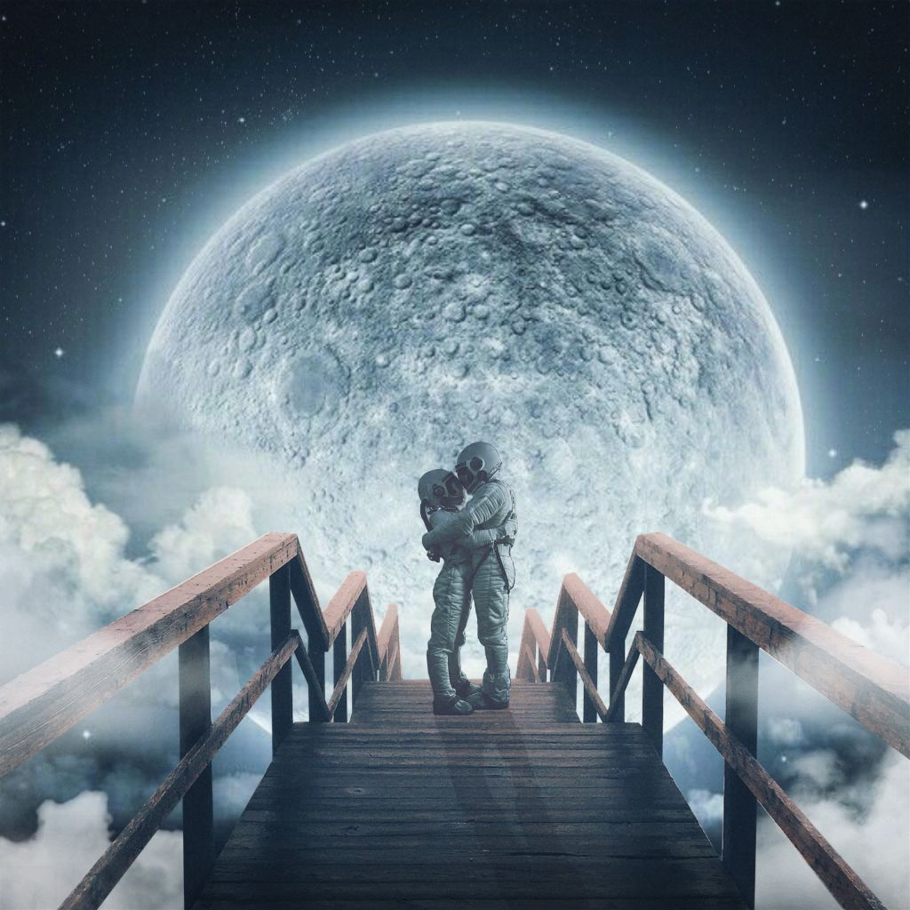 """""""iF yOu FinD sOmeOne yOu LoVe iN yOur LiFe,tHen HanG oN tO tHaT LoVe.🕊🕊"""" . . . #love #loveforever #uptheclouds #moonlight #moon #stars #upthesky #imagination #dream #bridge #art #madewithpicsart #clouds  #freetoedit"""
